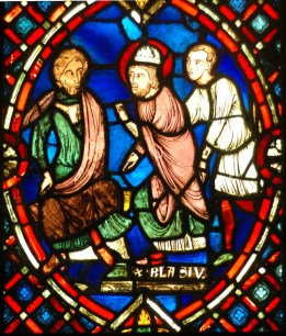St. Blaise confronting the Roman governor: Scene from the life of St. Blaise, bishop of Sebaste (Armenia), martyr under the Roman emperor Licinius (4th century). Stained glass window from the area of Soissons (Picardy, France), early 13th century.