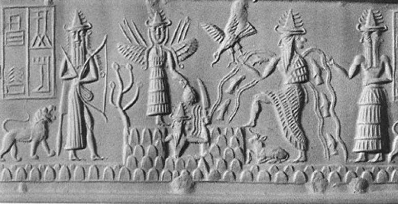 A famous cylinder seal depicting Utu/Shamash rising from Mt. Mashu (lower center holding a saw in his left hand), standing above him to the left is the winged Inana/Ishtar, to the right is Ea/Enki (the water and fish flows from his shoulders) and to the far right his two faced minister god Usmu.