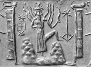 The god Utu Shamash as he rises from Mt. Mashu to bring the golden dawn. He wears the horned crown of divinity and holds a pruning saw in his hand, as the rays of the sun emanate from his shoulder.