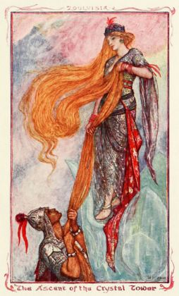 The King climbing the chrystal tower to Zoulvisia, illustration from The Olive Fairy Book by Andrew Lang (1907)