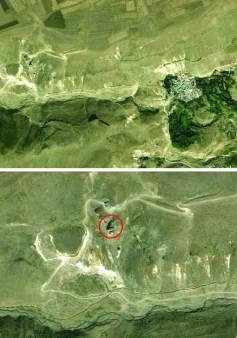 Tzarakar Monastery and Prut (nowadays Chukurayva) Village from space