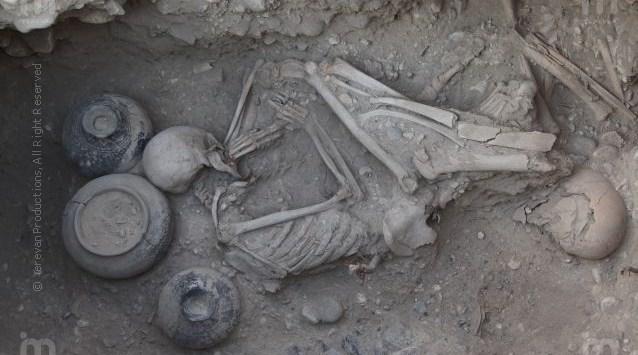 9th century BC. Urartu burial in Karmir Blur Armenia