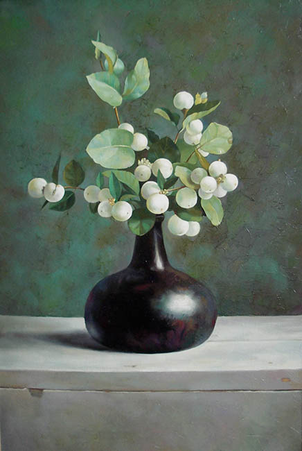 White plants in a vase oil on canvas
