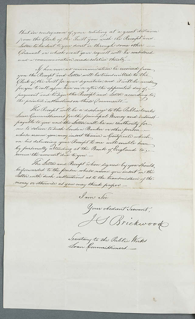 Letter from the Public Works Loan Commissioners to William