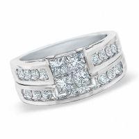 1.00 CT. T.W. Quad Princess-Cut Diamond Bridal Set in 14K ...