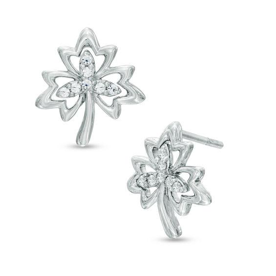 Diamond Accent Maple Leaf Earrings in Sterling Silver