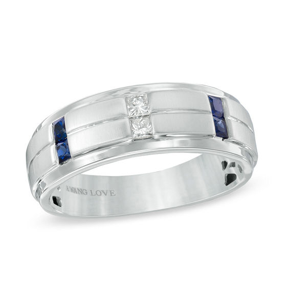 vera wang love collection men s 0 12 ct t w square cut diamond and blue sapphire
