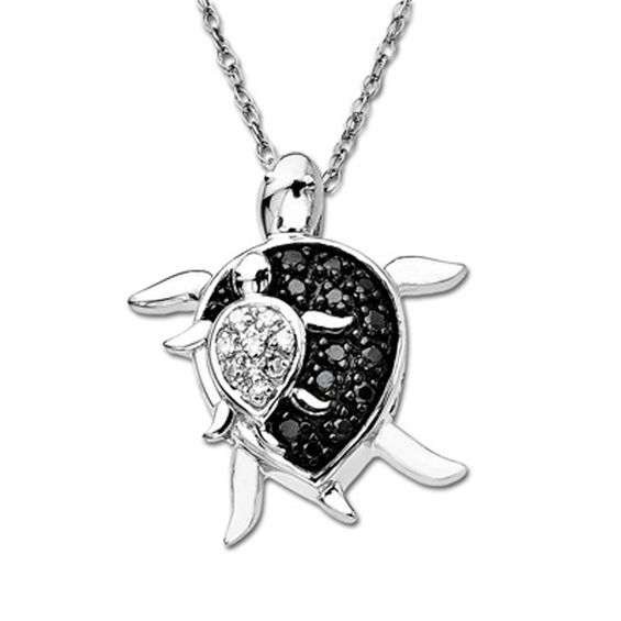 Enhanced Black and White Diamond Accent Mother and Baby
