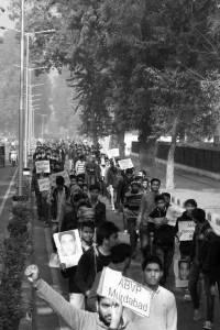 Aligarh Muslim University (AMU) students rally against ABVP's abduction of JNU student Najeeb
