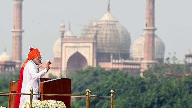 Narendra Modi addressing the nation on 15 August 2018