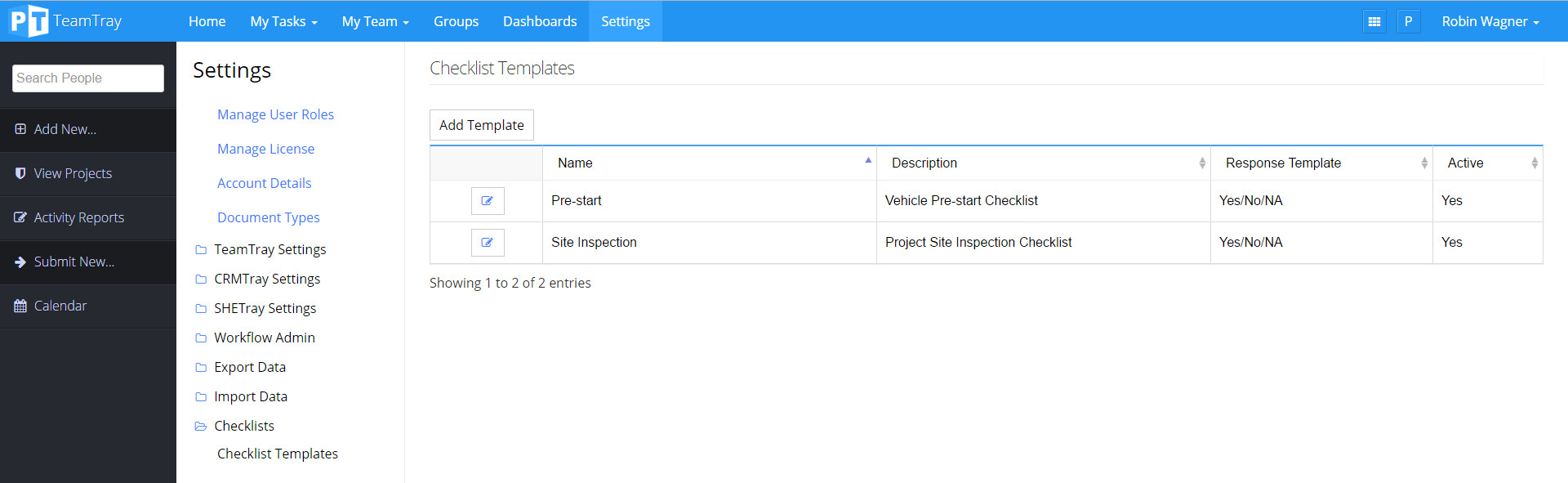 Configuring A New Checklist Template