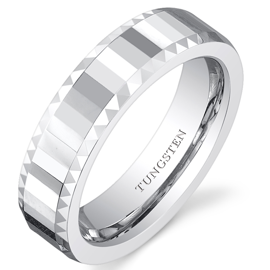 Faceted 5mm Womens White Tungsten Wedding Band Ring