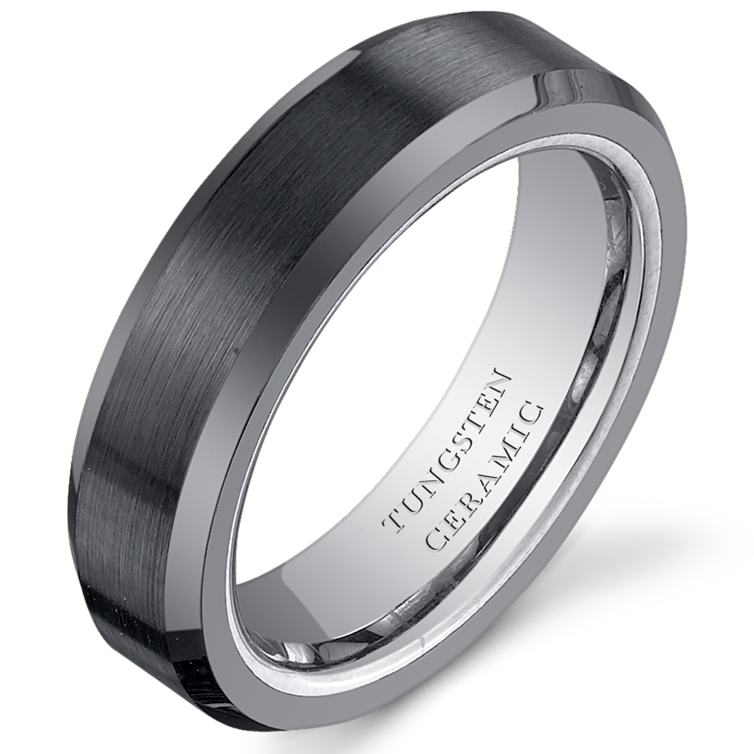 5mm Womens Tungsten Black Ceramic Wedding Band Ring