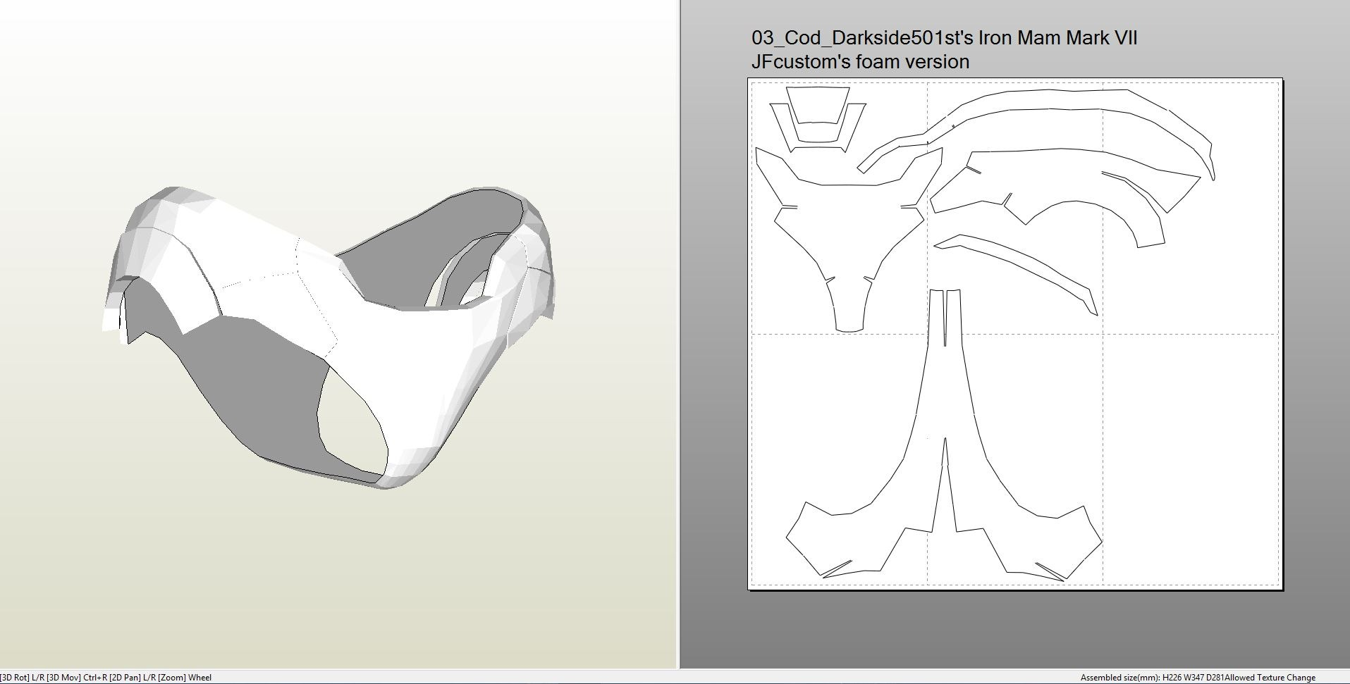 Foamcraft .pdo file template for Iron Man - Mark 7 Full ... Iron Man Arm Template