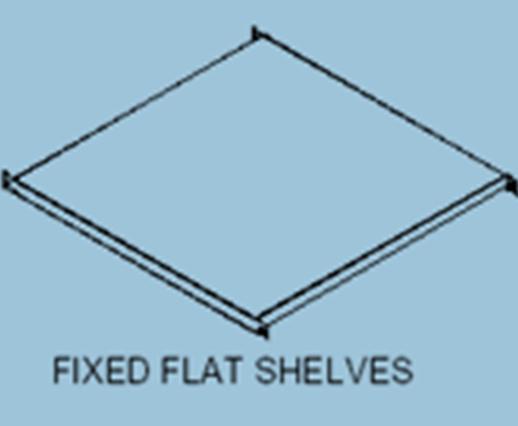 fixed flat shelves