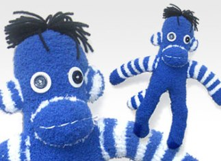 Blue & White Stripe One-of-a-Kind UPcycled Sock Monkey | © Pepe & Sherina Designs™