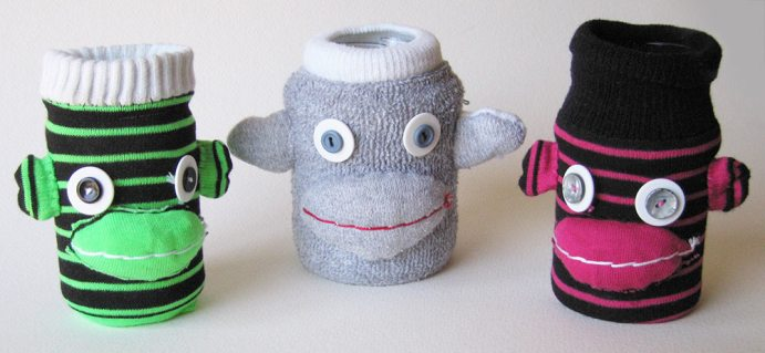 UPcycled Sock Monkey Jar Covers | © Pepe & Sherina Designs™