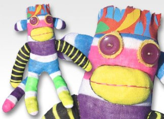 Multi-color Stripe One-of-a-Kind UPcycled Sock Monkey | © Pepe & Sherina Designs™