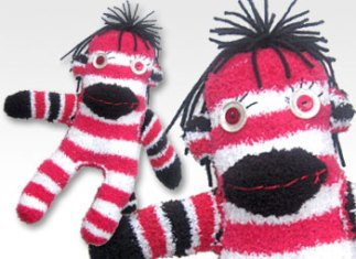 Red & White Stripe One-of-a-Kind UPcycled Sock Monkey | © Pepe & Sherina Designs™