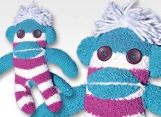 Teal & Purple Stripe One-of-a-Kind UPcycled Sock Monkey   © Pepe & Sherina Designs™