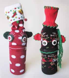 Holiday UPcycled Sock Monkey Wine Bottle Covers | © Pepe & Sherina Designs™