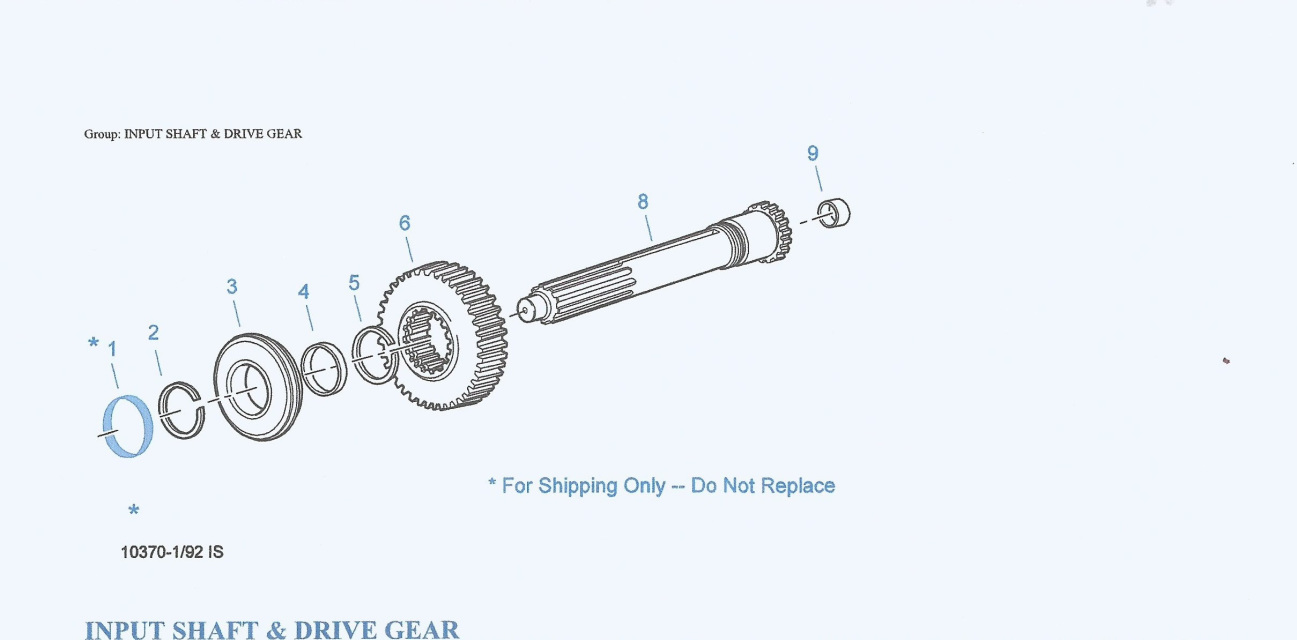 INPUT SHAFT, DRIVE GEARS & PARTS FOR 13 SPEED RTLO-18913A