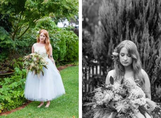 Black and white , and colour portraits of bride in garden carrying flowers by Flowersmith.