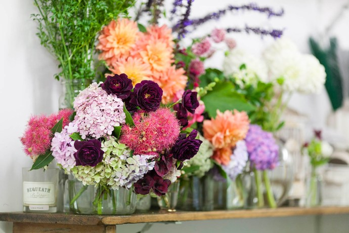 Colourful flower detail on shelf at Flowersmith Flowers photographed by Melbourne wedding photographers Pepperberry Photography.