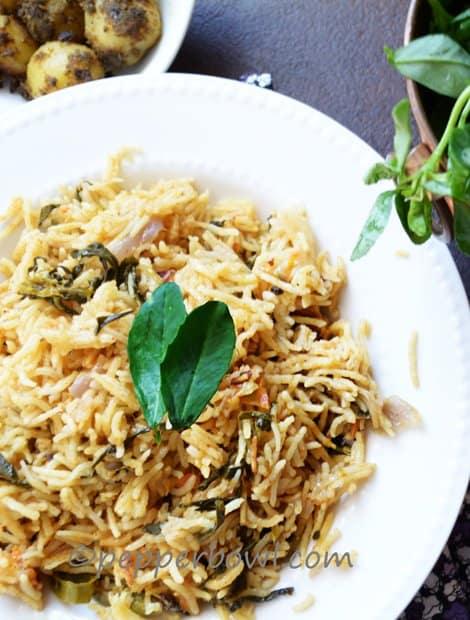 Methi Biryani-Fenugreek Leaves Rice Recipe