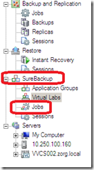 Veeam Backup and replication sections