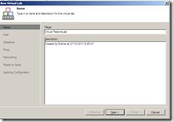 Veeam Virtual Lab name section