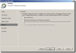 Veeam SureBackup Job settings notifications