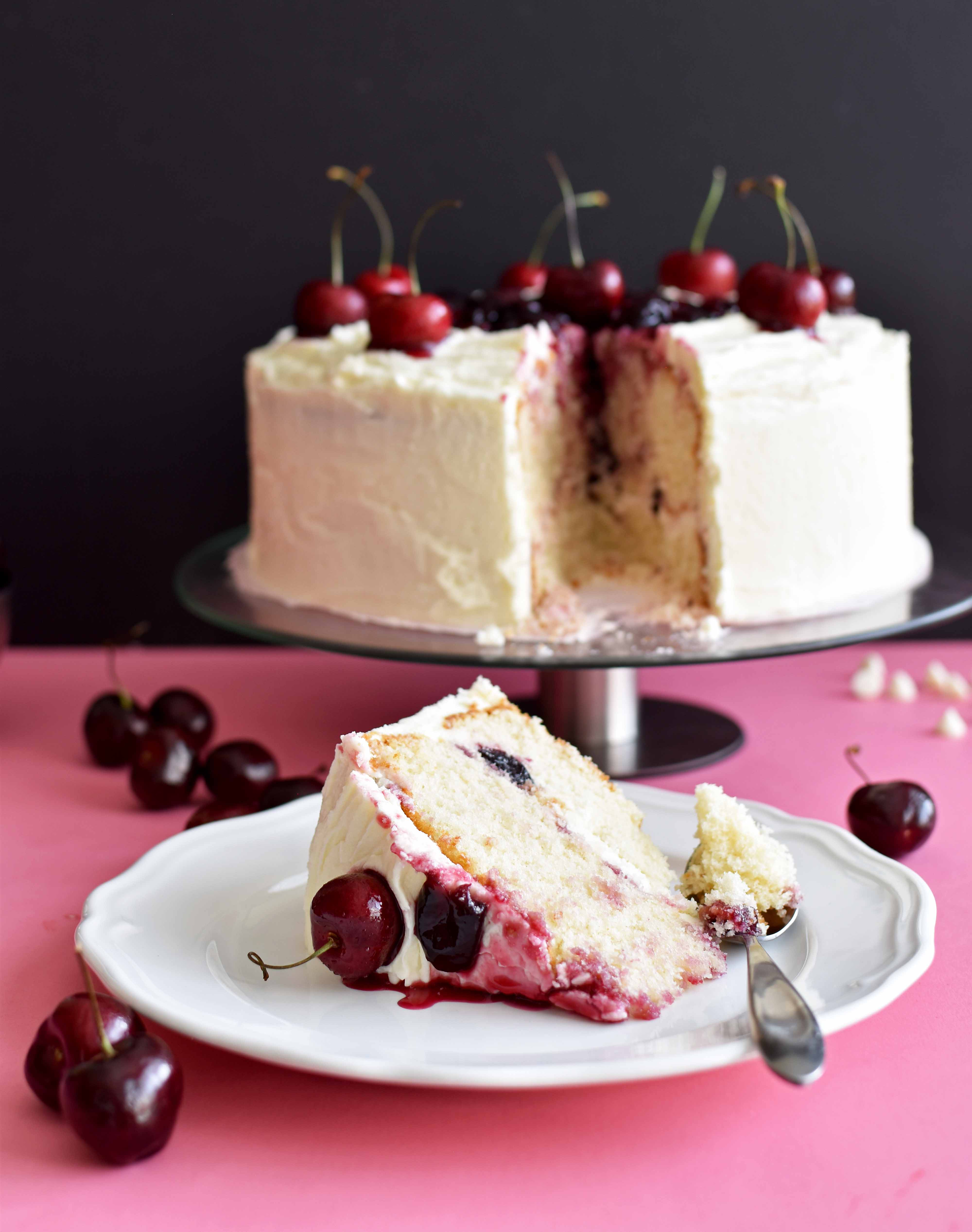 White Chocolate Cake with Cherry Sauce - Pepper Delight #recipe #cake