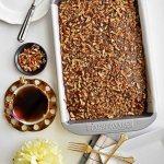 Texas Sheet Cake - Pepper Delight #pepperdelightblog #recipe #cake #texascake #texassheetcake #sheetcake #celebration #christmas #dessert #chocolatecake #potluck #party #holidayrecipes #holidaycake #flatlayphotography