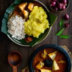 roasted coconut fish curry served with mashed tapioca and rice