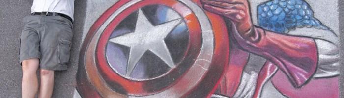 Chalk Recreation of Luke Ross Captain America Artwork