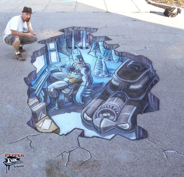 Batman 3D Chalk Art