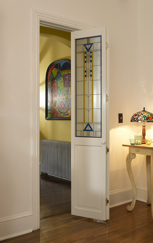 Stained Glass Door with Blue and Yellow Accent  Artiste