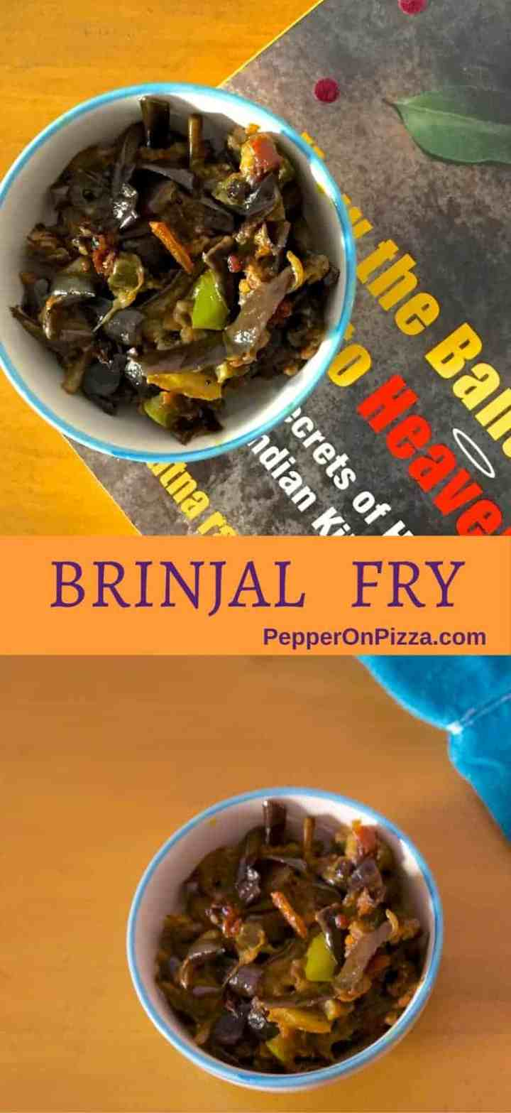 Slim purple brinjal, capsicum tomato and peas make an easy delicious fried brinjal curry. With rotis, rice or even in a sandwich or wrap!