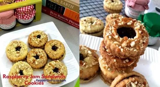 Almond Raspberry Jam Sandwich Cookies