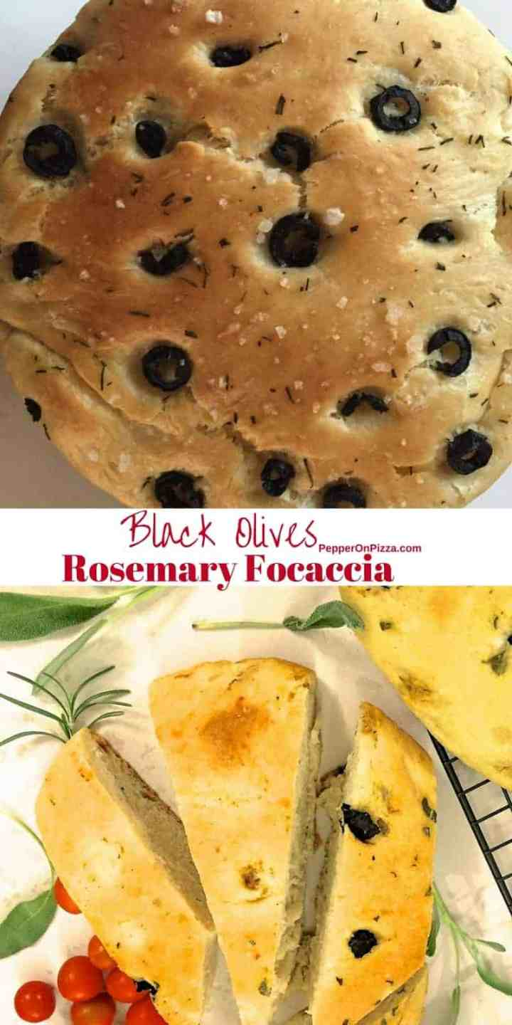 Easy Black Olive Rosemary Focaccia - an aromatic and delicious bread, a perfect accompaniment to soups, pasta or with basil oil or pesto.