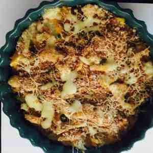 Vegetable au gratin - baked vegetables in a creamy white sauce