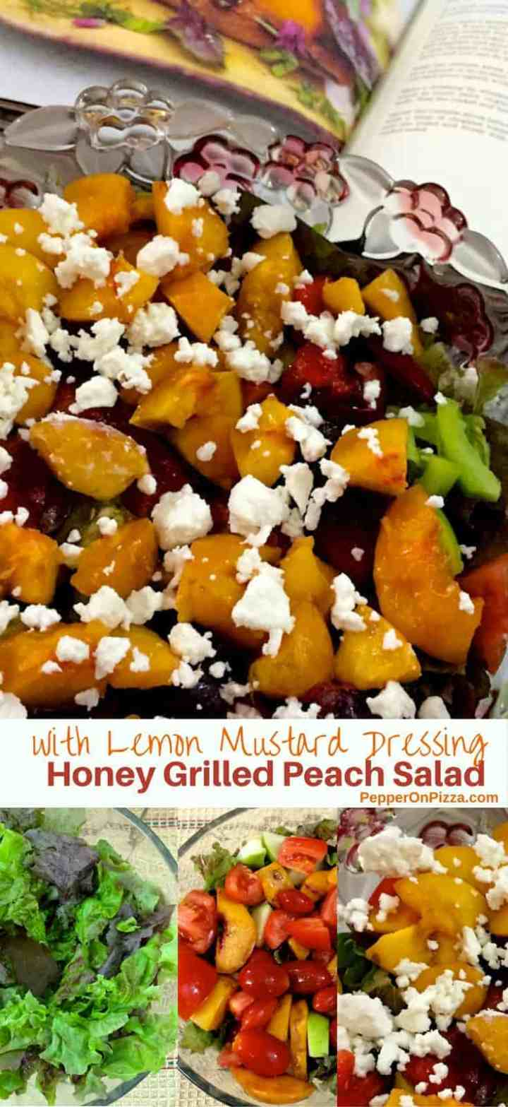 Delicious easy healthy Honey Grilled Peach Salad with Feta and dressing of lemon juice mustard honey and ginger