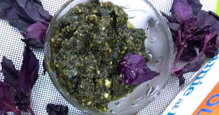 Easy Purple Basil Pesto with Pine nuts and Parmesan