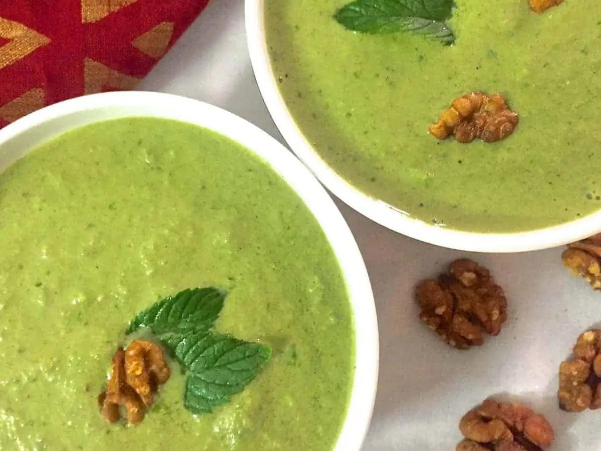 No Cook Cucumber Spinach Walnut Chilled Green Gazpacho