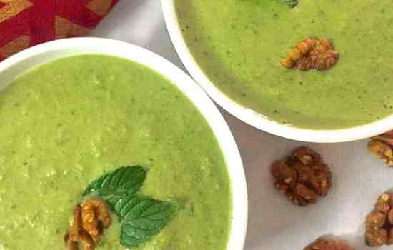 No Cook Cucumber Spinach Walnut Chilled Green Gazpacho