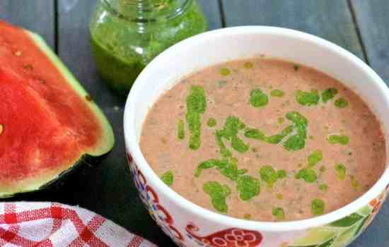Chilled Pink Watermelon Gazpacho with Homemade Basil Oil