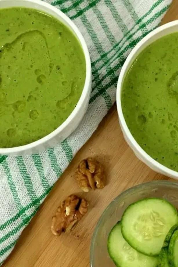 Gazpacho Cucumber Spinach Walnuts_PepperOnPizza.com