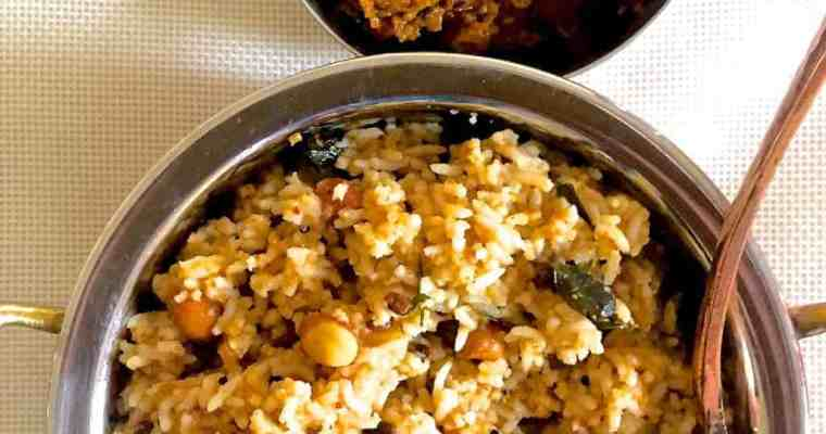 Puliyodharai – Spiced Tamarind Rice made from Pulikachal
