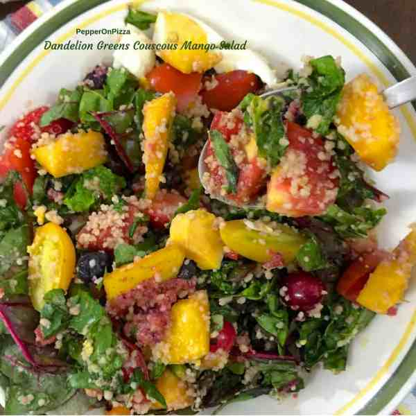 Dandelion greens with Couscous and Mango salad